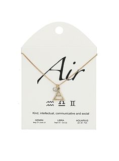 Air sign necklace. For Gemini, Libra and Aquarius. -- I want the earth version of this.