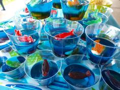 Fish bowl Jello cups or at least Jello Jigglers Fish Bowl Jello, Jello Cups, Cruise Theme Parties, Jello Jigglers, Jello Shots, Hawaiian Birthday, Luau Birthday, Birthday Ideas, Birthday Parties