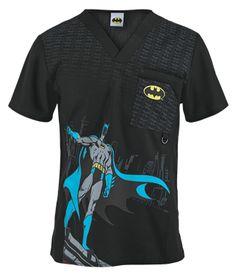 Cherokee Tooniforms Scrubs The Batman Men's Print Top - Style CK6788GDM sold at Uniform Advantage