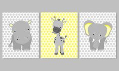 Zoo Nursery Decor, elefante vivaio arte, grigio e giallo, Aqua e Gray, Baby Nursery Decor, Baby Room Decor giraffa pois Hippo giungla