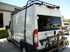 Dodge Promaster Aluminess Roof Rack with Surf Pole and Ladder on a tall roof 159 wheel base.