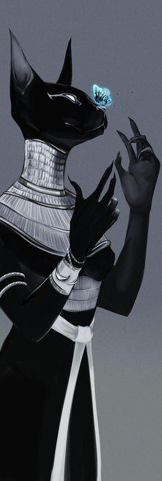 looks like Bastet, the Egyptian Cat Goddess Egyptian Mythology, Egyptian Art, Egyptian Anubis, Egyptian Symbols, Egyptian Beauty, Fantasy Kunst, Fantasy Art, Art Graphique, Mythical Creatures