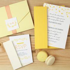 yellow wedding invitation suite by Basic Invite featured on Trendy Bride blog. #trendybride #weddinginvitations