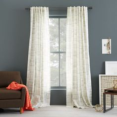 Cotton Canvas Printed Curtain - Etched Grid | West Elm Living room or guest bedroom