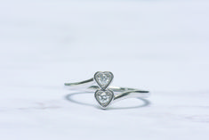 Shop double heart diamond crossover alternate engagement ring in white gold at Fascinating Diamonds. This Alternative Engagement Ring can be customized as per your desire. Best Diamond, Diamond Heart, Heart Ring, Cheap Engagement Rings, Alternative Engagement Rings, Crossover Ring, White Gold, Gemstones, Jewelry