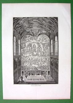 ITALY Rome Vatican Sistine Chapel Altar Ceiling and by martin2001 Renaissance Architecture, Sistine Chapel, Types Of Printing, Gods Grace, Wood Engraving, Antique Prints, Michelangelo, Vatican