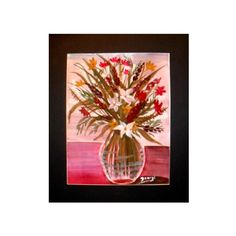 White Floral in Glass Vave Watercolor Painting Print,White and Red... ($30) via Polyvore featuring home, home decor, wall art, flower wall art, beach paintings, watercolor painting, flower stem and glass painting