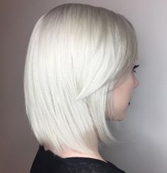 Silver Blonde Lob With Side Bangs
