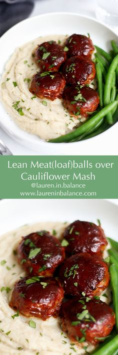 MEATLOAF MAKEOVER! Healthy, gluten-free version of this comfort classic, made with lean ground beef and served over roasted cauliflower mash.  #glutenfree #dairyfree #healthy #foodanddrink #lowcarb #eatbetter #meatloaf #cauliflowermash #cauliflower