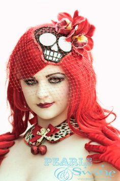 "Could we work this in? Image of ""Voodoo"" Mexican Day of the Dead Birdcage Fascinator Quirky Punk Skull Burlesque Hair Accessory"