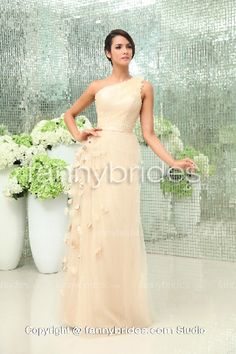Iovry One Shoulder Flowers Tulle Evening Gown - Fannybrides.com Blue Evening Dresses, Evening Gowns, Formal Dresses, Wedding Dresses, One Shoulder Gown, One Shoulder Wedding Dress, Discount Prom Dresses, Beaded Chiffon, Chic Wedding