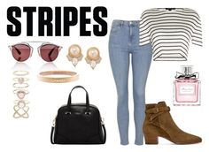 """""""Stripes"""" by tamarahornes ❤ liked on Polyvore featuring Topshop, Alexander Wang, Yves Saint Laurent, Christian Dior, Accessorize, Furla, Carolee, Chanel, stripes and contestentry"""