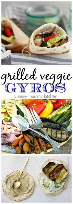 I love this easy vegetarian or vegan lunch or dinner. A vegetarian or vegan take on Gyros. These lighter gyros are filled with grilled veggies. Vegetarian Grilling, Grilling Recipes, Veggie Recipes, Vegetarian Recipes, Cooking Recipes, Healthy Recipes, Healthy Vegetarian Lunch Ideas, Soup Recipes, Vegetarian Cooking