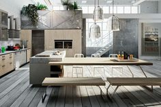 Gallery of cucina moderna linea con gola lineare grigia offerta