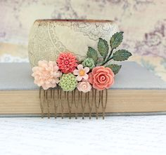 I am in LOVE with this Etsy shop; it's amazing!!!! Flower Hair Comb Floral Collage Wedding Hair Accessories Green Patina Leaf Branch Coral Peach Rose Pink Chrysanthemum Daisy Dahlia Leaves on Etsy, $38.00