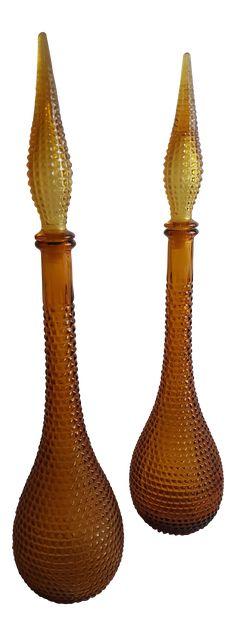 Gold Handblown Murano Glass Genie Bottle Decantors, a Pair Carafe, Decanter, Antique Glass Bottles, Genie Bottle, Diamond Pattern, Murano Glass, Vases, Mid-century Modern, Mid Century