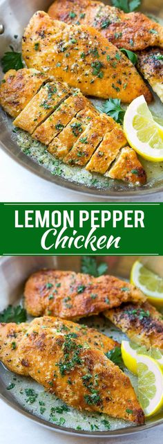 This recipe for lemon pepper chicken with butter sauce is a simple recipe that's ready in just 20 minutes! The perfect dinner for a busy weeknight. chicken dinner Lemon Pepper Chicken - Dinner at the Zoo Recipes With Chicken And Peppers, Chicken Stuffed Peppers, Easy Chicken Recipes, Turkey Recipes, Recipe Chicken, Chicken Cake, Butter Chicken, Grilled Chicken Breast Recipes, Recipe For Thin Sliced Chicken Breast