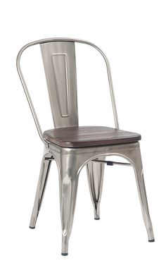 This metal restaurant chair Gekko features a solid steel frame