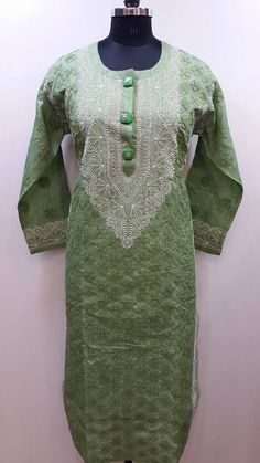 Lucknow Chikan Exclusif Sarabsons Shop No 101, Naveen Market, Kanpur. Lucknowi Chikankari Hand Embroidered Kurti Green Silk Rs. 3,150.00 only. Free Shipping. COD. Order on Call / Whatsapp +91-9918602101 or click to Buy Online