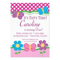 Invitaciónes para piñata de niña de mariposas rosas - Imagui