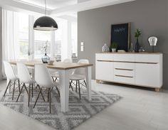 Salle à manger scandinave blanche et couleur bois ALVIN
