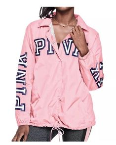 "New Victoria/'s Secret PINK Grey Black Bling /""Hawaii/"" Half Zip Pullover Jacket L"