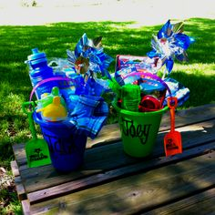 cute summer gift idea for kids. write the child's name on the outside of the bucket & a message on the shovel. fill the bucket with a bathing suit & fun summer toys!