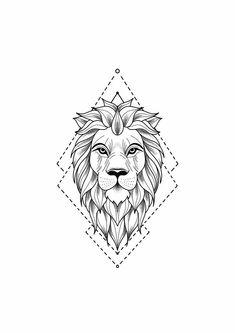 Tattoo Drawing - Drawing of a lion tattoo. A mix of art and geometry -Lion Tattoo Drawing - Drawing of a lion tattoo. A mix of art and geometry - lion tattoo with geometric touches © tattoo artist Mike Sledz ❤❤❤❤❤ Tattoo . Leo Tattoos, Animal Tattoos, Cute Tattoos, Tattoos For Guys, Sleeve Tattoos, Mini Tattoos, Flower Tattoos, Small Tattoos, Cross Tattoos