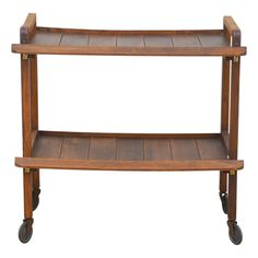 Unusual french art deco oak blueprint holder console style rolling french 1950s bar cart trolley in the style of jacques adnet malvernweather Images
