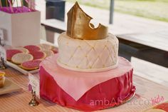 Crown topped cake at a Sleeping Beauty Birthday Party!  See more party ideas at CatchMyParty.com!