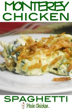 This Monterey Chicken Spaghetti is THE BEST! Chicken spaghetti loaded with spinach, Monterey Jack cheese and french fried onions. Pot Pasta, Pasta Dishes, Food Dishes, Pasta Bake, Main Dishes, Chicken Spaghetti Casserole, Chicken Pasta, Skillet Chicken, Butter Chicken
