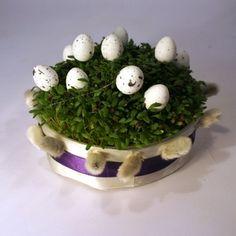 Wielkanocny stroik z rzeżuchy