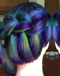 Green purple braided dyed hair @jennifer.malloy