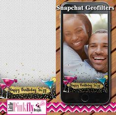 GF-539 Cocktail Birthday Snapchat by LittlePinkflyDesigns on Etsy