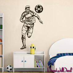 Wall Decal Sticker Football ball Player Kicking Soccer Sport goalkeeper M1704. Thank you for visiting our store!!! Please read the whole description about this item and feel free to contact us with any questions! Vinyl wall decals are one of the latest trends in home decor. Vinyl wall decals give the look of a hand-painted quote, saying or image without the cost, time, and permanent paint on your wall. They are easy to apply and can be easily removed without damaging your walls. Vinyl…