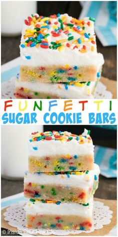 Sprinkles and frosting make these easy cookie bars the best way to do sugar cookies. Sprinkles and frosting make these easy cookie bars the best way to do sugar cookies. Mini Desserts, Just Desserts, Delicious Desserts, Yummy Food, Tasty, Easy Birthday Desserts, Healthy Food, Easy Desserts To Bake, Yummy Dessert Recipes