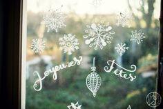décorer ses vitres pour les fêtes au blanc de Meudon