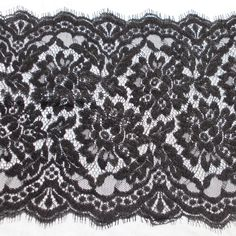 Lace - Rigid (non-stretch) - wide - Twin Galloon - Eyelash - 22cm - BLACK, per metre 4£ - Sewing chest