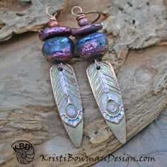 Beautiful Peacock Earrings, starting Copper Peacock Shards, with amazing Basha Beads topped with Heishi Freshwater Pearl and Czech Glass.
