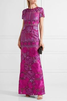 Marchesa Notte - Embellished Tulle Gown - Magenta - US