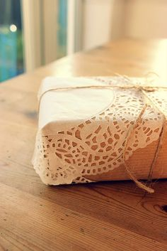 doily wrapped christmas present