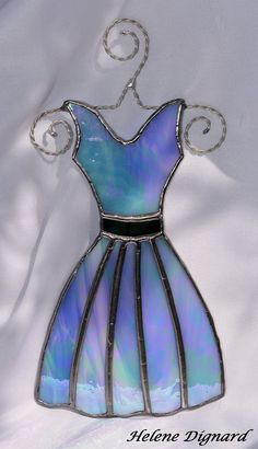 Elegant Iridized Blue Stained Glass Suncatcher Evening Dress on Hanger Anniversary Gift