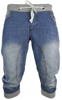 Mens Jogger Jeans Shorts Elastic Blue Washed: Amazon.co.uk: Clothing