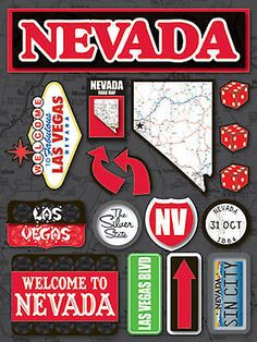 Reminisce 3-D LAYERED Stickers-NEVADA scrapbooking SILVER STATE