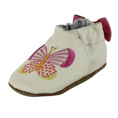 8c8f089a2e6c Robeez Baby Shoes Girls Butterfly Cream Pink Leather Crib Shoes