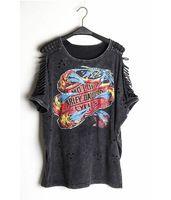 2015 Women Sexy T Shirts Punk Rock Desigual Fashion Print Off Shoulder Tops Femininas Camisas Vintage Hollow Out Clothing