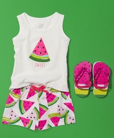 Because her style should be as sweet as she is | Mix and match | Toddler girls' fashion | Kids' clothes | Watermelon | Tank top | Shorts | Flip flops