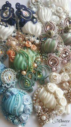 Shibori silk and soutache Mhoara earrings ❤                                                                                                                                                                                 もっと見る                                                                                                                                                                                 もっと見る