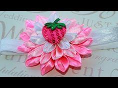 ▶ ▶ decorate the Nursery povyazochku hair / Kanzashi Flowers - YouTube