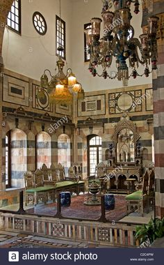 Azam Palace Old House town city Damascus Syria Stock Photo, Royalty Free Image: 35917249 - Alamy Islamic Architecture, Art And Architecture, Naher Osten, Arabic Decor, Spanish Garden, The Beautiful Country, This Is Us Quotes, Home Design Decor, Islamic Art